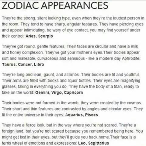 Zodiac Signs Appearances | today's free horoscope